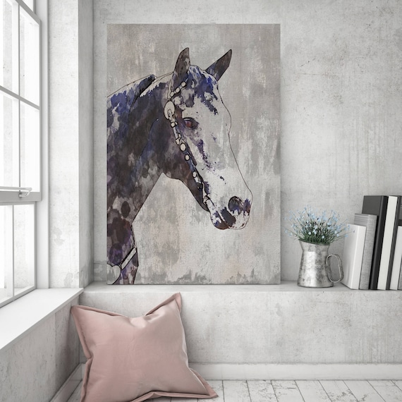 The Morgan Horse 2. Extra Large Rustic Horse, Equine Wall Decor, Black Rustic Horse, Large Farmhouse Wall Canvas Art Print up to 72