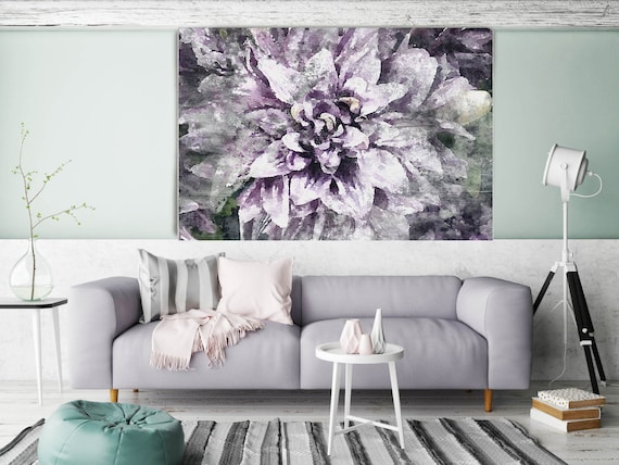 """ORL-8027-2 Delightful. Floral Painting, Purple Abstract Art, Large Abstract Colorful Contemporary Canvas Art Print up to 72"""" by Irena Orlov"""