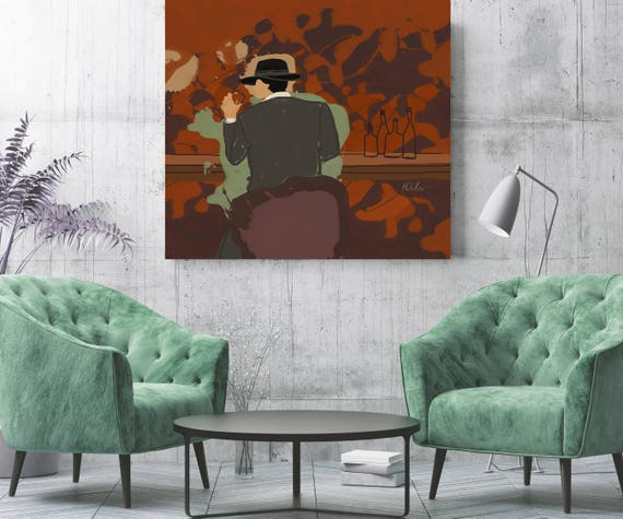 "Right here... Man in Bar. Figurative Brown Green Canvas Ary Print up to 48"" by Irena Orlov"