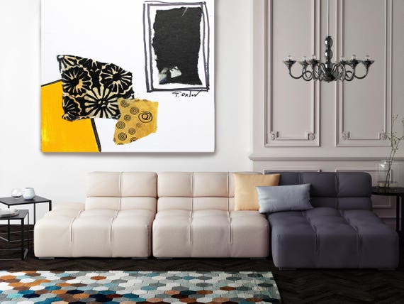 "Touch of Modern V. Yellow Black Abstract Art, Wall Decor, Large Abstract Colorful Contemporary Canvas Art Print up to 48"" by Irena Orlov"