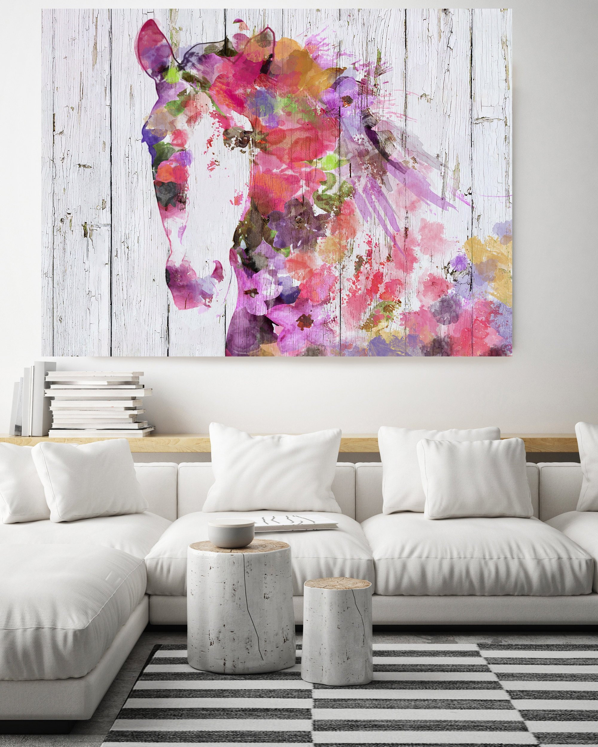 Gypsy Soul Bohemian Colorful Abstract Floral Horse Boho