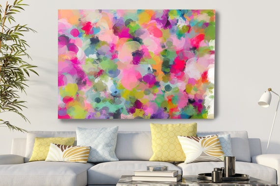 Art Abstract Painting Colorful Abstract Painting, Contemporary Art, Hand Painted Extra Large Canvas Print, Abstract Colorful Flows-122-21-08