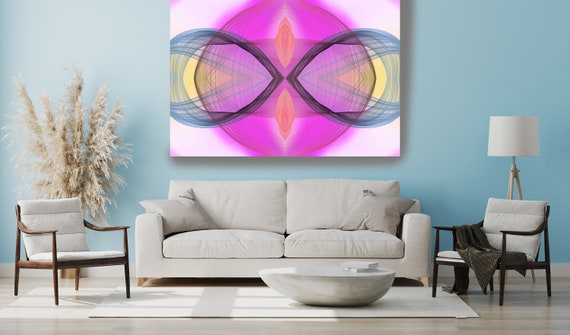 Surrealist Art, New Media Pattern Art, Abstract Painting, Hot Pink Abstract Art, Large Canvas Art Symmetrical pattern 1, Office Decor