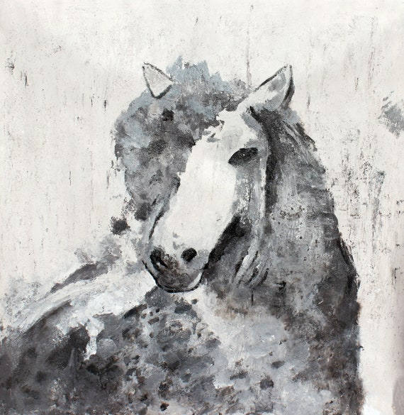 "Era Horse, White Gray Horse Painting Original Oil Art on Canvas Heavy Textured Horse Painting on Canvas, 50 x 50"" Equestrian Horse Portrait"