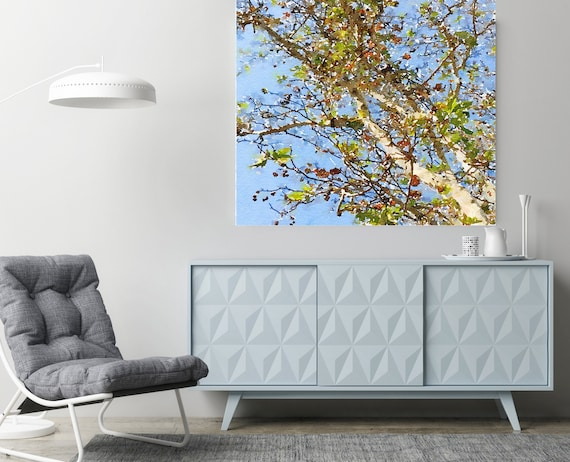 """Rustling trees 1 Watercolor Painting Blue Gray Plant Minimalist Art Botanical Drawing Rustic Large Canvas Art Print up to 48"""" by Irena Orlov"""