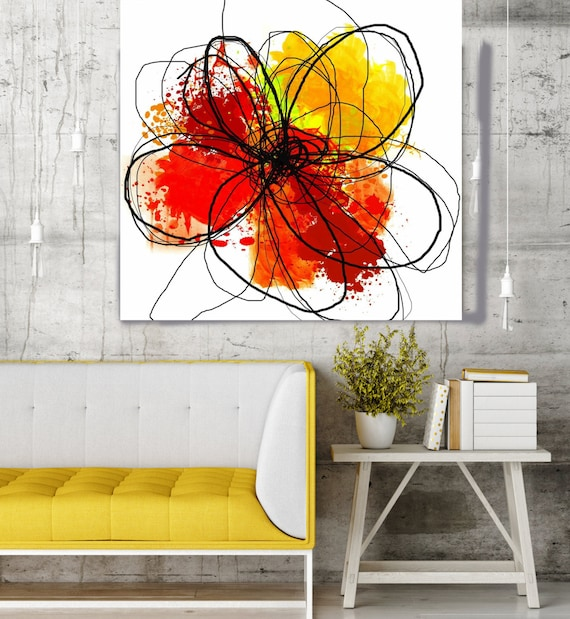 "Red Yellow Abstract Flower. Floral Painting, Red Yellow Black Abstract Art, Colorful Contemporary Canvas Art Print up to 48"" by Irena Orlov"