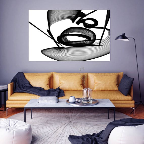 "Abstract Black and White 22-12-00. Contemporary Unique Abstract Wall Decor, Large Contemporary Canvas Art Print up to 72"" by Irena Orlov"
