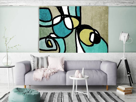 "Vibrant Colorful Abstract-0-38. Mid-Century Modern Green Canvas Art Print, Mid Century Modern Canvas Art Print up to 72"" by Irena Orlov"