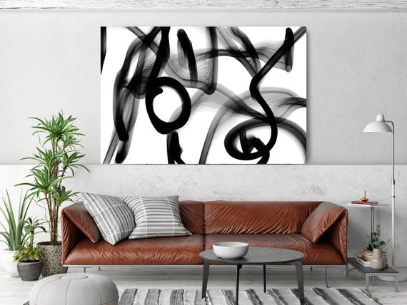 Interconnectedness, 45H x 60W inch, Innovative ORIGINAL New Media Abstract Black And White Painting on Canvas Minimalist Art