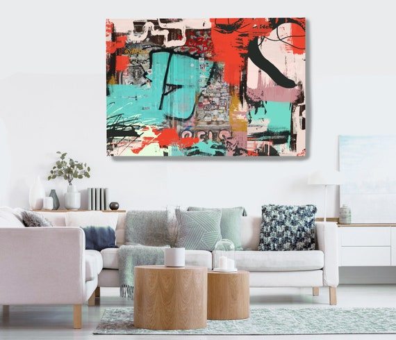 Graffiti Wall Art Red Green Street Art Painting Print on Canvas, Large Canvas Print, Urban Canvas Print, The puzzle 2