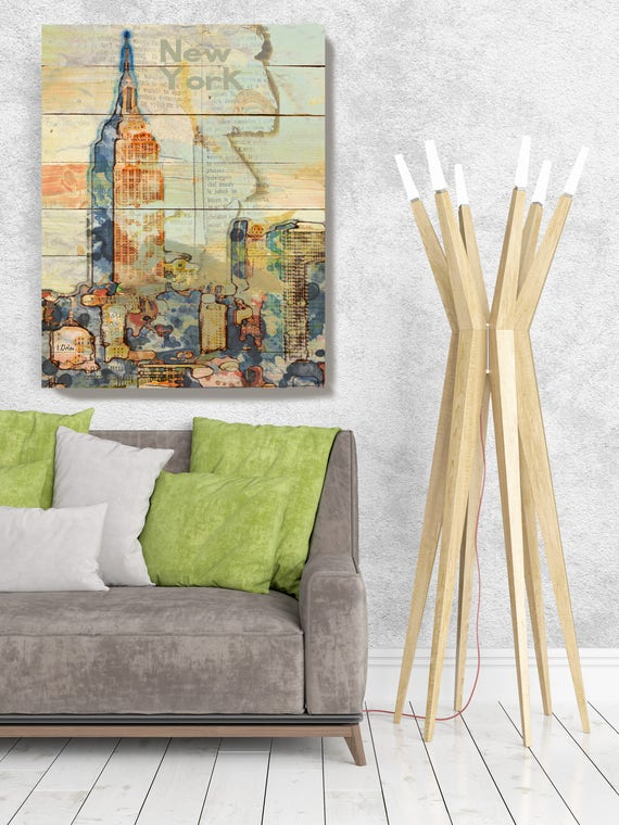 """Manhattan Skyline, Large Architectural Cityscape Canvas Art Print. Rustic Brown URBAN Canvas Art Print up to 72"""" by Irena Orlov"""