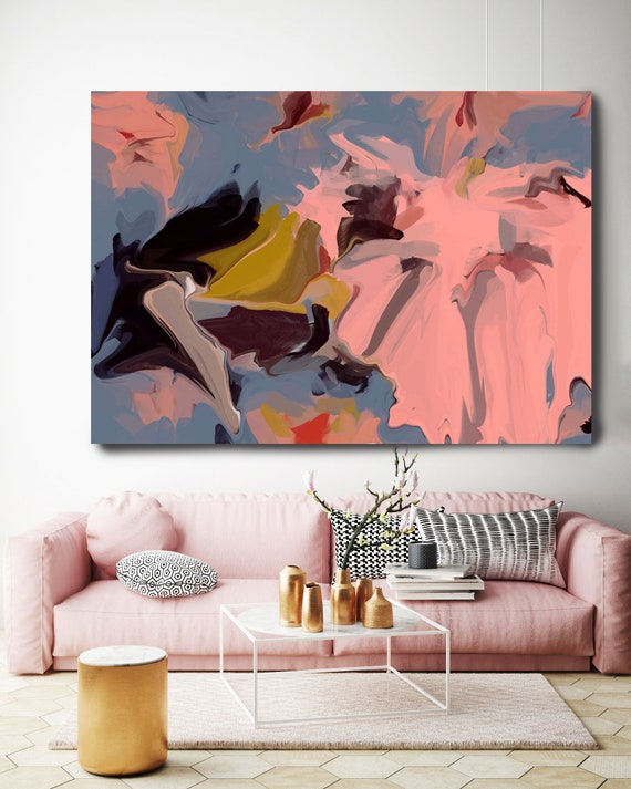Sprinkled with true happiness, Abstract Painting Extra Large Abstract Hand Painted Acrylic Painting On Canvas Pink Contemporary Canvas Print