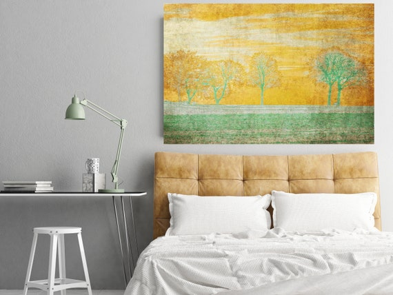 "Gentle Morning. Huge Rustic Landscape Painting Canvas Art Print, Extra Large Green Yellow Canvas Art Print up to 80"" by Irena Orlov"