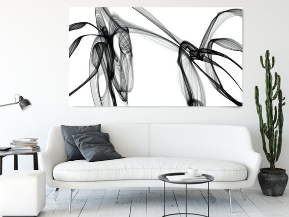 Black and White Wall Art Home Decor Wall Art Black White Abstract Canvas Print Brush Stroke Office Art Large Wall Art, is there anyone