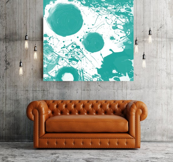 """Aqua. Geometrical Abstract Art, Wall Decor, Extra Large Abstract Colorful Contemporary Canvas Art Print up to 48"""" by Irena Orlov"""