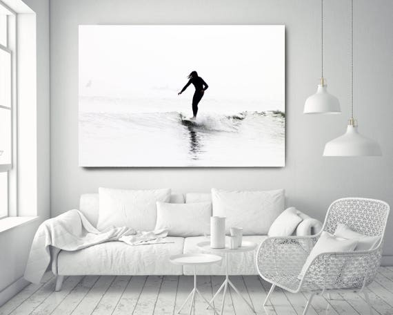 "Surfer 5-3. Extra Large Water Canvas Art Prints up to 72"", Seascape White BlackWater Photography Print by Irena Orlov"