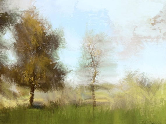 "Nature WARMS. Huge Rustic Landscape Painting Canvas Art Print, Extra Large Blue Green Brown Canvas Art Print up to 80"" by Irena Orlov"