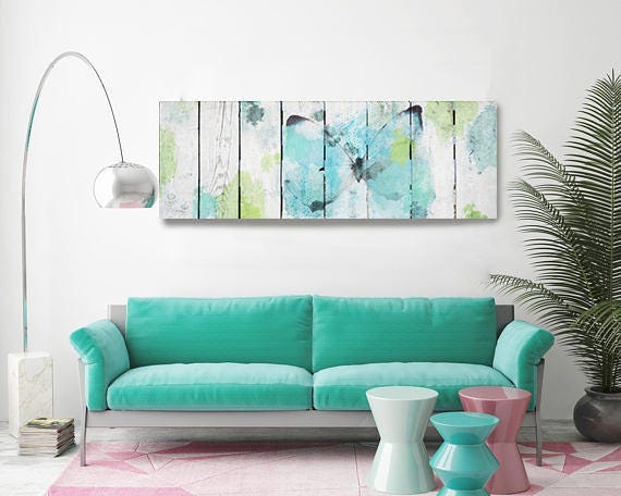 """Blue Accent 2. White Blue Green Rustic Butterfly Canvas Art Print 60 x 15"""", RUstic Butterfly Wall Art Decor by Irena Orlov"""