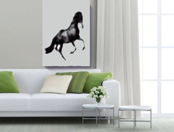 "Blur Horse. Extra Large Horse, Horse Wall Decor, Black Contemporary Horse, Large Contemporary Canvas Art Print up to 72"" by Irena Orlov"