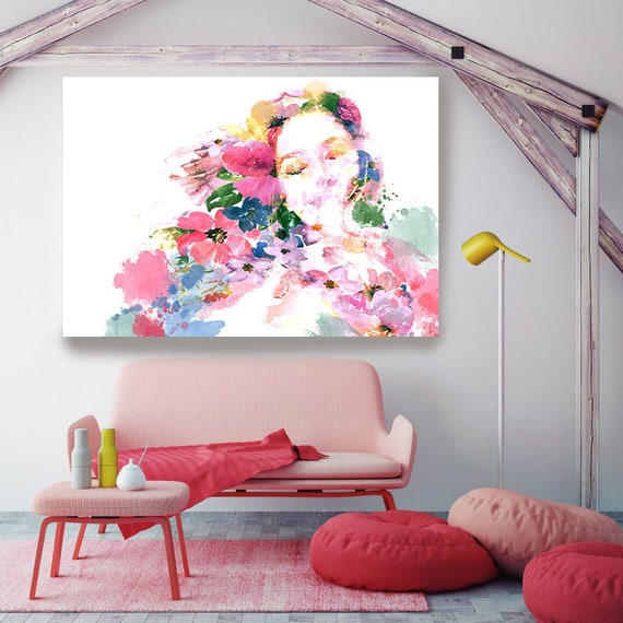 Head of Flowers Art, Figurative painting, Woman watercolor painting canvas print, Woman Portrait, Melody of Joy, Floral Watercolor Painting