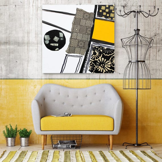 "Touch of Modern VI. Extra Large Abstract Art, Wall Decor, Large Abstract Yellow Contemporary Canvas Art Print up to 48"" by Irena Orlov"