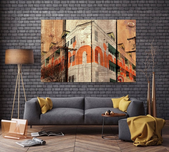 """Building in LA III, Large Architectural Cityscape Canvas Art Print. Rustic Brown URBAN Canvas Art Print up to 72"""" by Irena Orlov"""