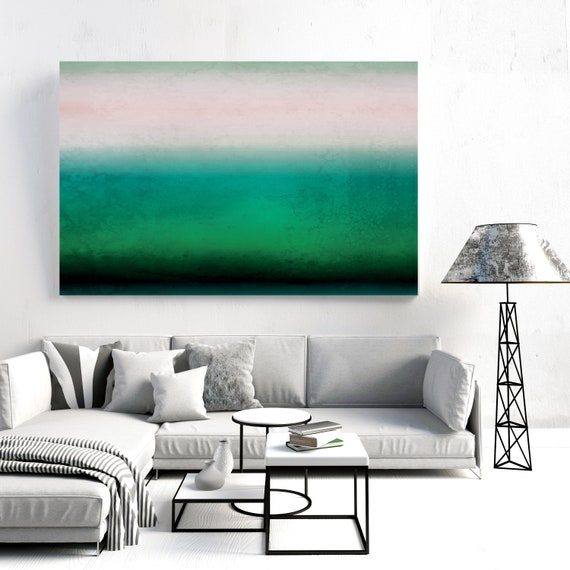 Abstract Minimalist Rothko Inspired 01-24, Abstract Landscape Painting, Abstract Painting, Pink and Green Art, Irena Orlov, Landscape Art