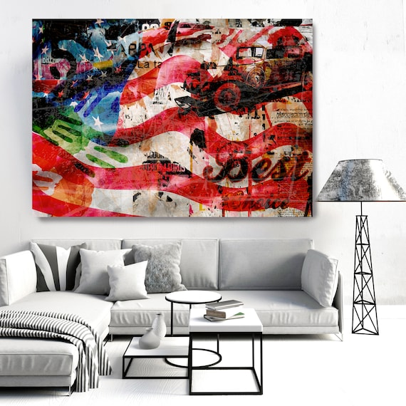 Graffiti Art - Urban Wall Art - Contemporary Wall Art - Urban Art - Large Abstract Art Textured Painting America's Best Choice Canvas Print