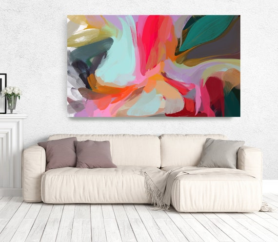 "The Color Movement 11, Abstract Painting Modern Wall Art Painting Canvas Art Print Art Modern Pink Red Blue Green up to 80"" by Irena Orlov"