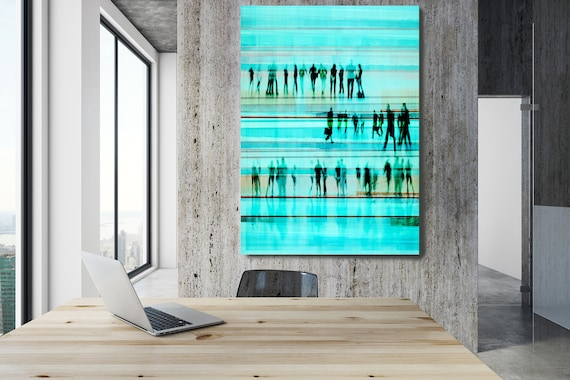"Going To Work 3,  Art for Your Office, Office Wall Art, Teal Corporate Office Decor, Extra Large Canvas Art Print up to 72"" by  Irena Orlov"