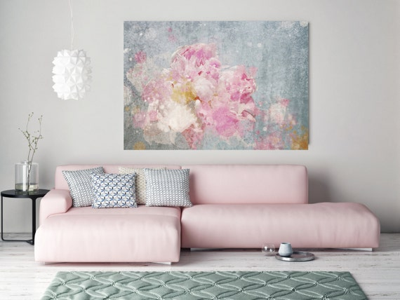 """Shabby Chic. Floral Painting, Pink Abstract Art, Wall Decor, Large Abstract Colorful Contemporary Canvas Art Print up to 72"""" by Irena Orlov"""