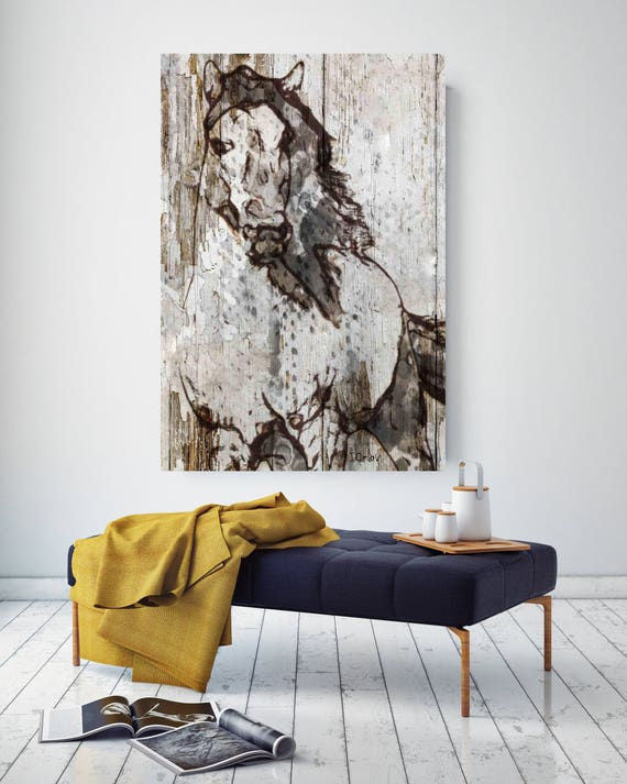 "SALE Horse. Extra Large Horse, Unique Horse Wall Decor, White Rustic Horse, Large Contemporary Canvas Art Print up to 72"" by Irena Orlov"