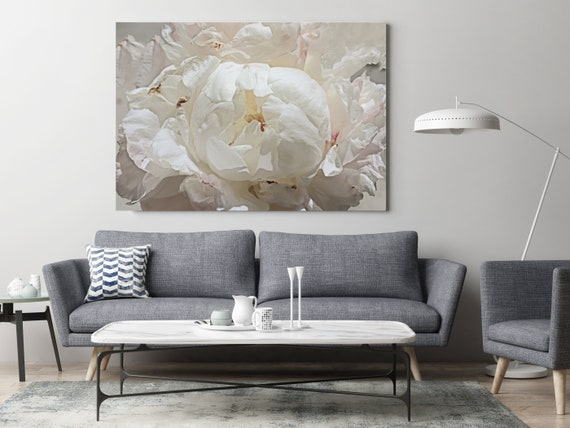 """White Spring Peony 1. Floral Photography Canvas Print, Shabby Chic Blur Blush Pink Gray Large Canvas Art Print up to 72"""" by Irena Orlov"""