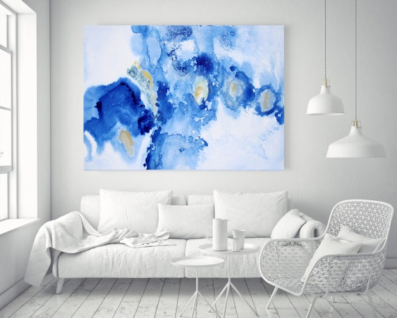 """Blue Yellow and White Watercolor abstract splash 1. Watercolor Abstract, Extra Large Abstract Canvas Art Print up to 72"""" by Irena Orlov"""