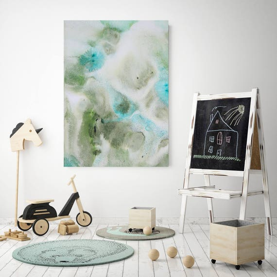 "Coastal Watercolor Abstract 122. Watercolor Abstract Blue Green Canvas Art Print, Watercolor Painting up to 72"" by Irena Orlov"