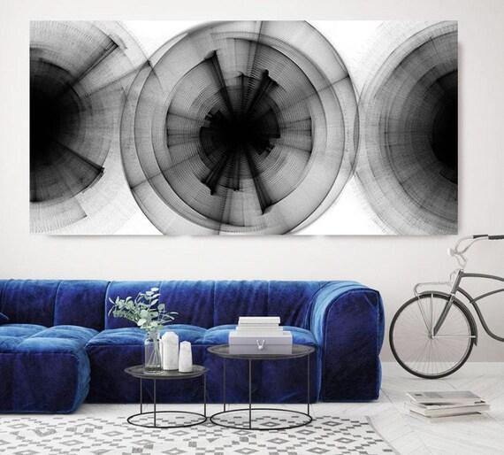 Debates, Black and White Modern Minimalist 40H x 80W inch, ORIGINAL New Media Abstract Black And White Painting on Canvas Minimalist Art