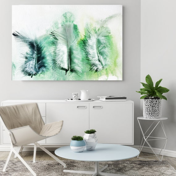 """ORL-11760 Elegant feathers in green 5, Green Feather Photography, Extra Large Feather Canvas Art Print up to 72"""" by Irena Orlov"""