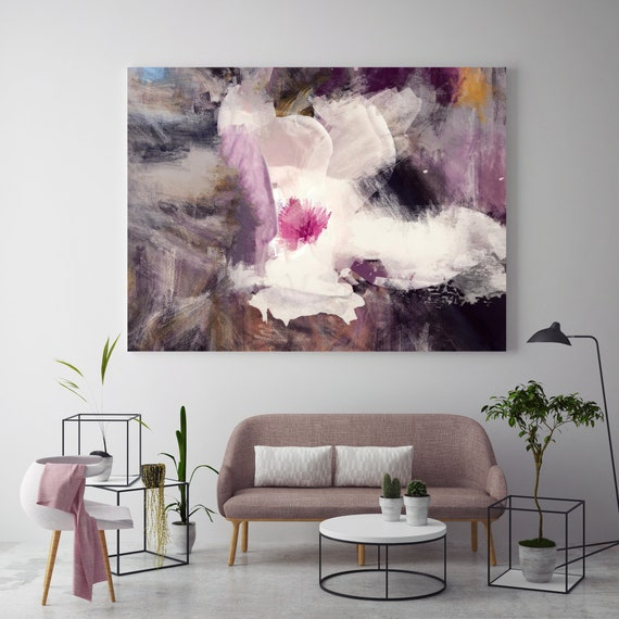 "Gorgeous White. Floral Painting, Purple White Abstract Art, Large Abstract Colorful Contemporary Canvas Art Print up to 72"" by Irena Orlov"