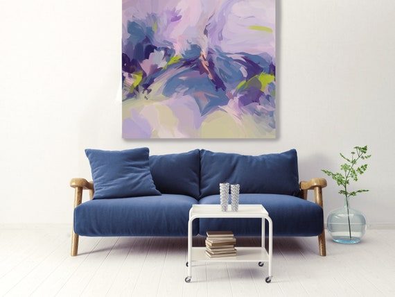 Fresh Life Wall Art | Original Painting| Abstract Purple Blue Wall Art |Blue Art | Blue Gray Wall Decor | Ready to Hang Canvas Print