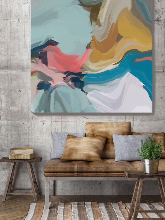 """A Moment Lost. Original One-of-a-kind Oil Painting on Canvas, Contemporary Abstract Teal, Blue, Yellow Oil Painting up to 50"""" by Irena Orlov"""