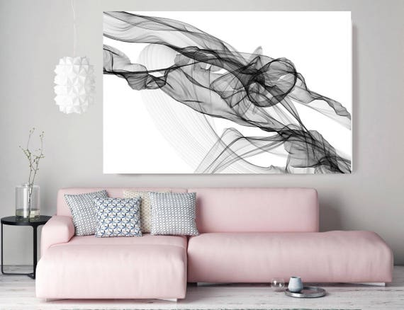 "Moving Through. Abstract Black and White, Unique Abstract Wall Decor, Large Contemporary Canvas Art Print up to 72"" by Irena Orlov"