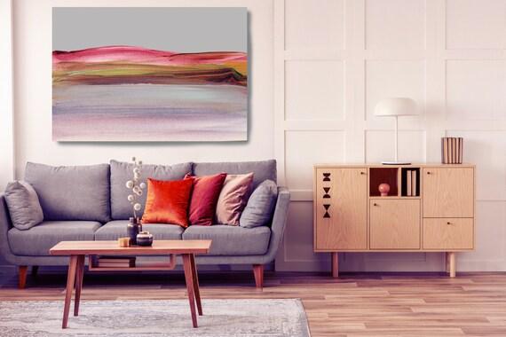 Seashore, Pink Purple landscape painting, landscape art print, rustic landscape Canvas Print, Rural Landscape