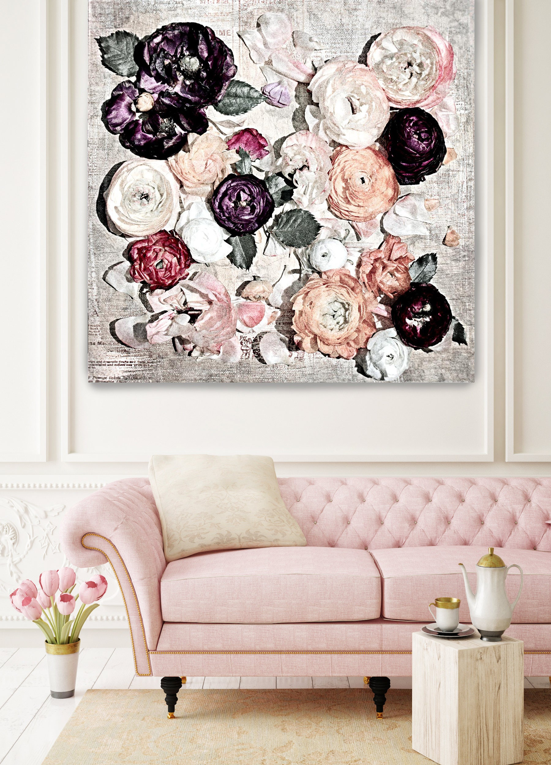 Romantic Shabby Chic Flowers 8 Rustic Floral Painting Pink