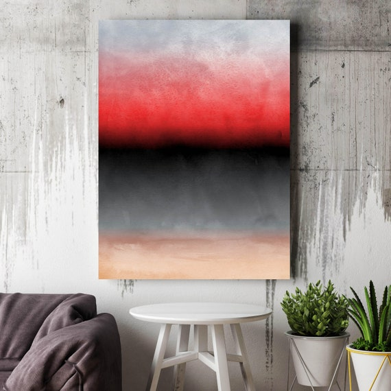 "Abstract Minimalist Rothko Inspired 01-43. Black Red Watercolor Abstract, Large Abstract Colorful Canvas Art Print up to 72"" by Irena Orlov"