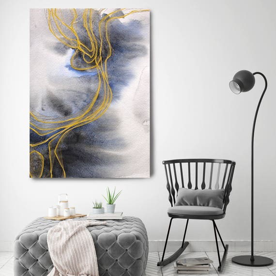 """Blue Expression 4. Watercolor Abstract Blue Black Gold Canvas Art Print up to 72"""" by Irena Orlov"""