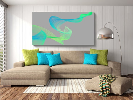 "Sea-breeze Circulation. Abstract New Media Art, Wall Decor, Extra Large Abstract Blue Green Canvas Art Print up to 72"" by Irena Orlov"