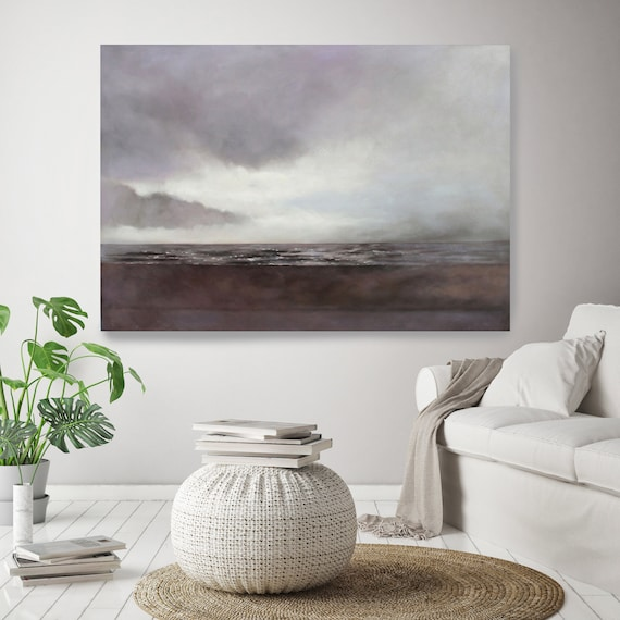 Winter Shadows 2. Rustic Seascape Painting Shoreline, Ocean Art, Ocean Print, Coastal Art, Beach Painting, Beach Canvas Art Print