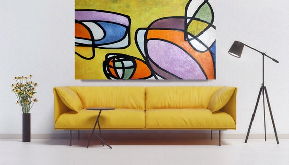 Vibrant Colorful Mid Century Modern Abstract-0-31, Contemporary Oil on Canvas, Midcentury Modern Colorful Original Painting by Irena Orlov