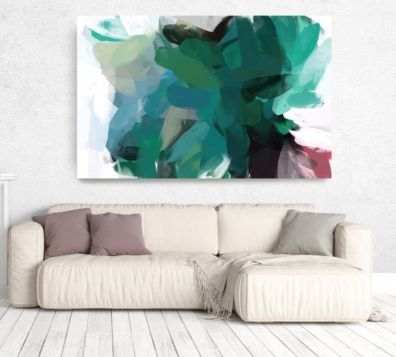 "The Color Movement 22, Modern Green Canvas Art Print Painting Green Abstract White Green Decor up to 80"" by Irena Orlov"