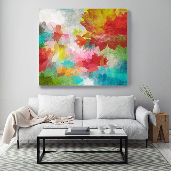"Celebration of joy. Red Blue Green Floral Canvas Art Print, Extra Large Floral Canvas Art Print up to 72"" by Irena Orlov"